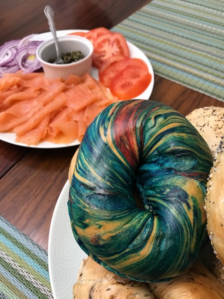 Rainbow bagel from Binghamton's Bagel in Englewood, NJ